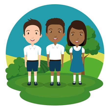 students group in the park vector illustration design Stock Illustratie