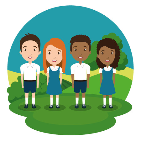 students group in the park vector illustration design Illustration