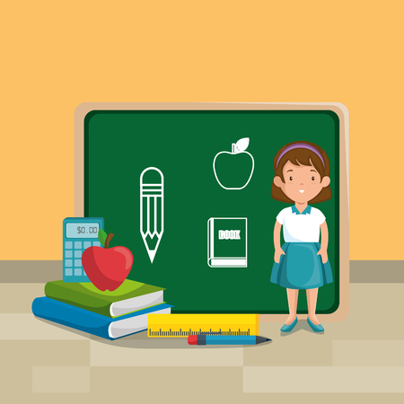 girl student in the classroom character vector illustration design Stock fotó - 101442715
