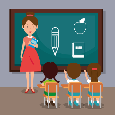woman teacher with students in the classroom vector illustration design