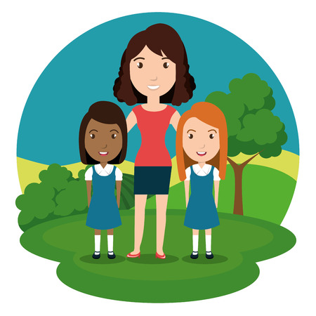 woman teacher with students in the park vector illustration design Illustration