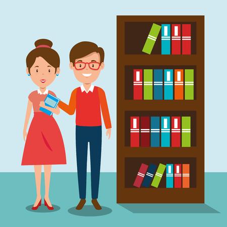 couple teachers in the classroom vector illustration design