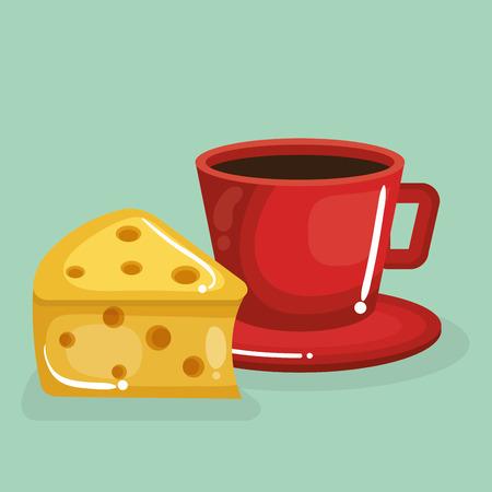 coffee and cheese delicious food breakfast menu vector illustration design Stock Illustratie
