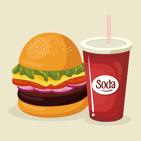 soda with amburger fast food menu vector illustration design Ilustração