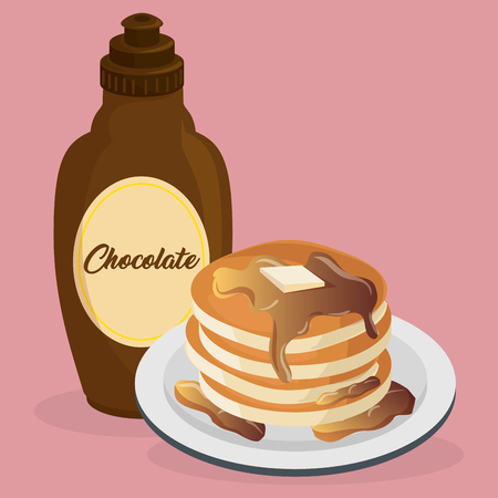 delicious pudding with syrup bottle sweet menu vector illustration design