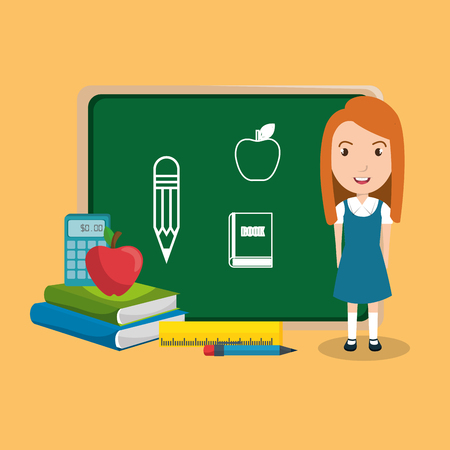 girl student in the classroom character vector illustration design