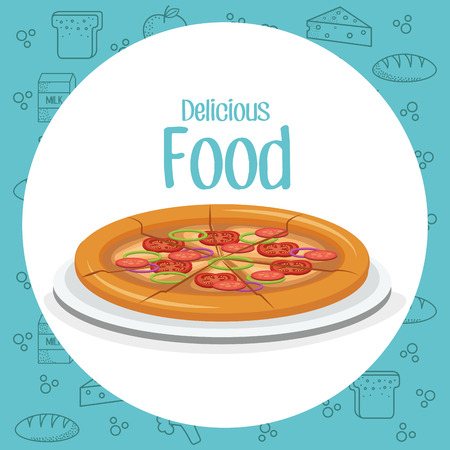 pizza fast food menu vector illustration design
