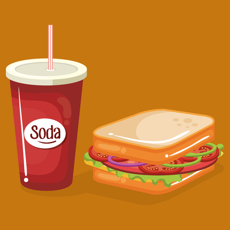 soda with sandwich fast food menu vector illustration design