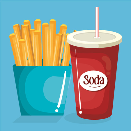 soda with french fries fast food menu vector illustration design Çizim