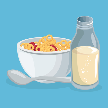 corn flakes and milk delicious food breakfast menu vector illustration design Ilustração