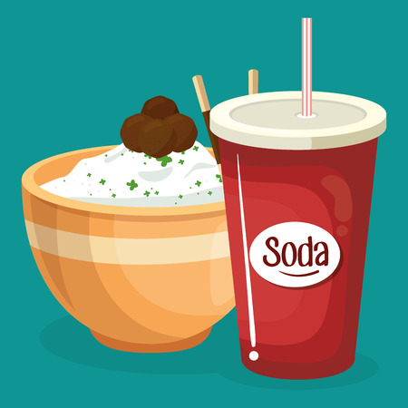 soda with rice fast food menu vector illustration design