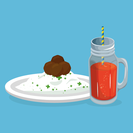 rice and meat with juice delicious food breakfast menu vector illustration  イラスト・ベクター素材