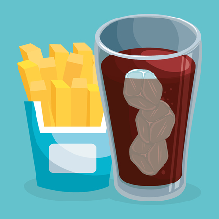 soda with french fries fast food menu vector illustration design Ilustração