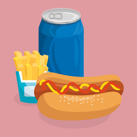 soda with hot dog and french fries fast food menu vector illustration design Ilustração