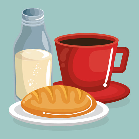 coffee and milk with bread delicious food breakfast menu vector illustration