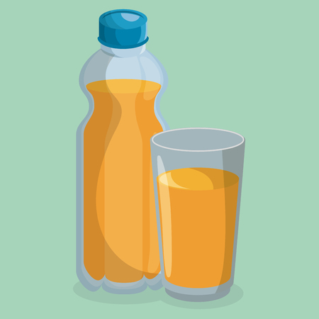 juice bottle and glass vector illustration design Stock Illustratie