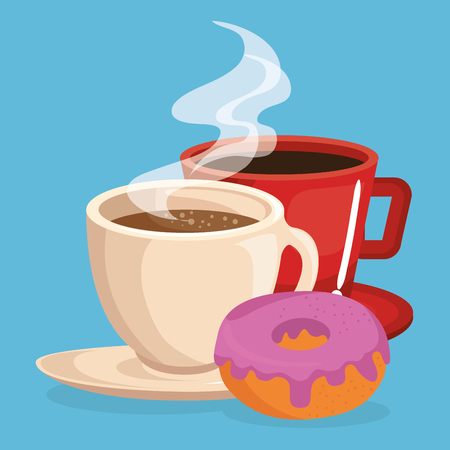 coffee and donut delicious food breakfast menu vector illustration design