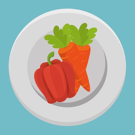 fresh carrot and pepper vegetables menu vector illustration design Standard-Bild - 101443402