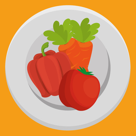 fresh carrot and pepper with tomato vegetables menu vector illustration design Illustration
