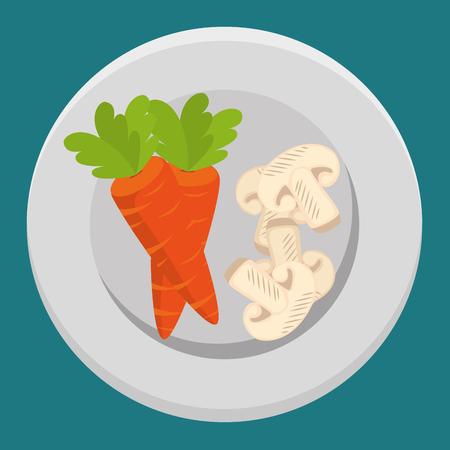 fresh carrot and mushroom vegetables menu vector illustration design Standard-Bild - 101443404