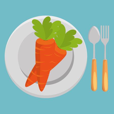 fresh carrot and cutlery vegetables menu vector illustration design Standard-Bild - 101443405
