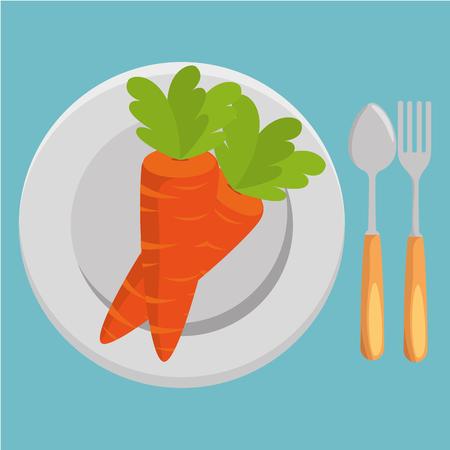 fresh carrot and cutlery vegetables menu vector illustration design Standard-Bild - 101443406