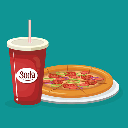 soda with pizza fast food menu vector illustration design