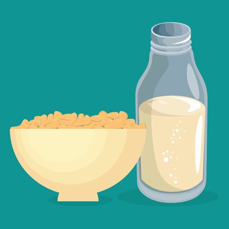 cereal dish with milk delicious food breakfast menu vector illustration design