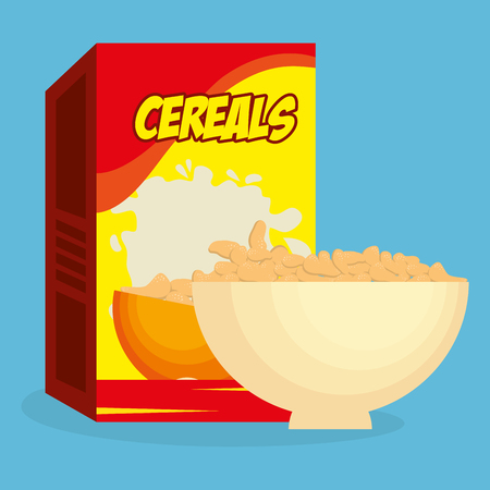 cereal dish with box product delicious food breakfast menu vector illustration