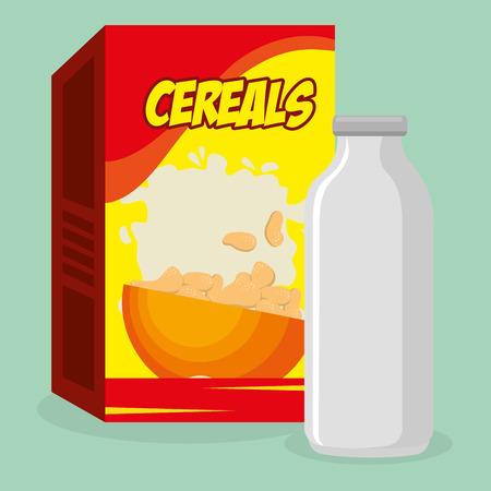 cereal packing box with milk bottle vector illustration design