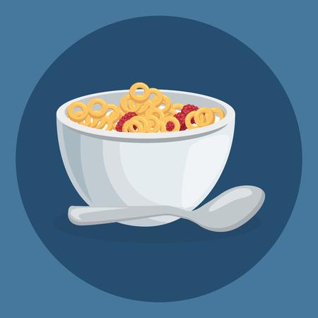 corn flakes delicious food breakfast menu vector illustration design