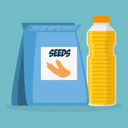 seeds bag with juice bottle vector illustration design Illustration