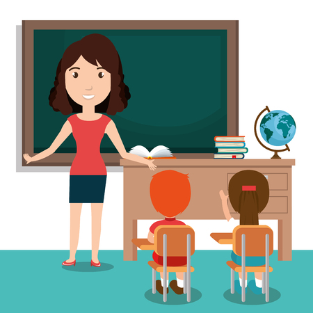 vrouw leraar met studenten in het klaslokaal vector illustratie ontwerp