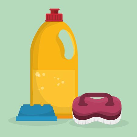 laundry service set bottles products vector illustration design Foto de archivo - 101444305