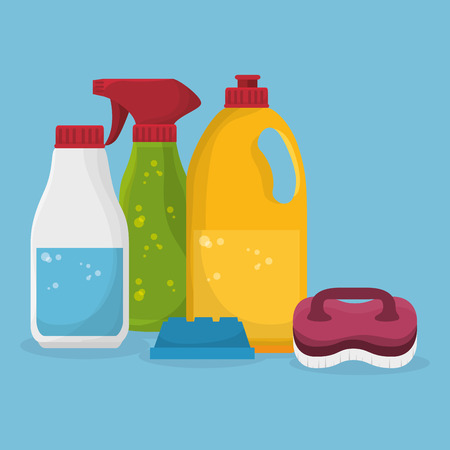laundry service set bottles products vector illustration design Foto de archivo - 101444307
