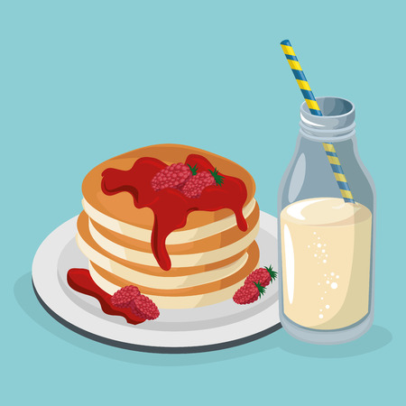 delicious pudding with milk sweet menu vector illustration design