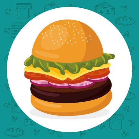 hamburger fast food menu vector illustration design