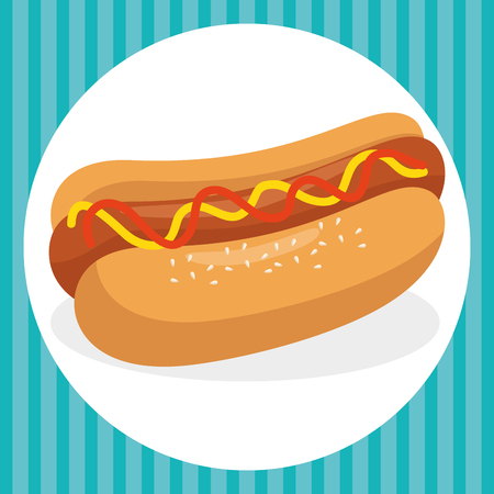 hot dog fast food menu vector illustration design