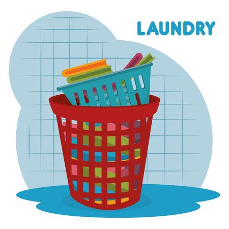 clothes plastic basket laundry service vector illustration design Illustration