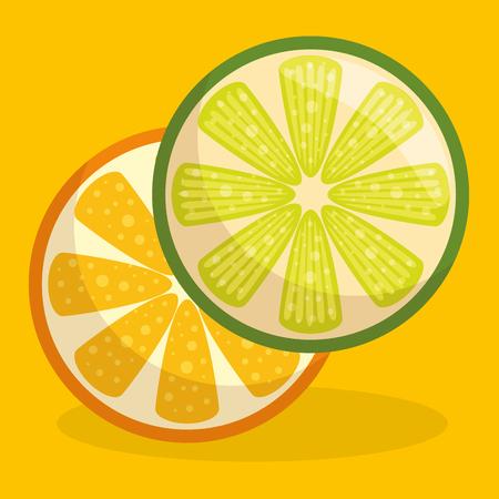 fresh orange and lemon fruit healthy food vector illustration design Illustration