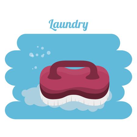 cleaning brush laundry service vector illustration design