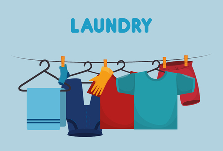 clothes hanging laundry service vector illustration design  イラスト・ベクター素材