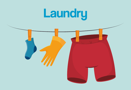 clothes hanging laundry service vector illustration design Illustration