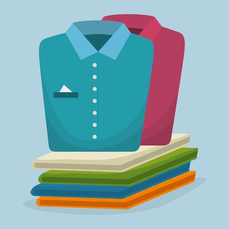 service de blanchisserie vêtements pliés vector illustration design Vecteurs