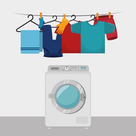 clothes hanging laundry service vector illustration design Illustration