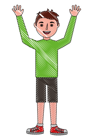 young man happy raised arms character vector illustration