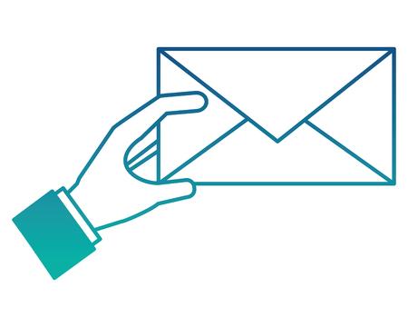 hand with envelope isolated icon vector illustration design Archivio Fotografico - 101451369