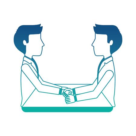 businessmen in desk working vector illustration design