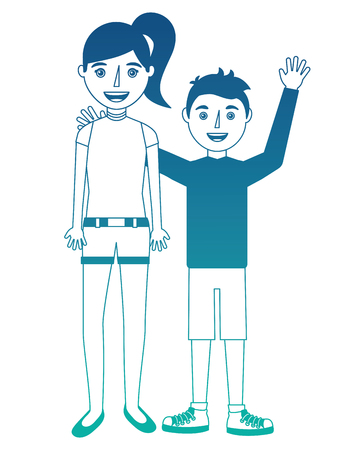 girl and boy brothers young isolated icon vector illustration design