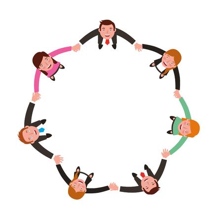 Vista aérea del grupo de empresarios tomados de la mano, diseño de ilustraciones vectoriales